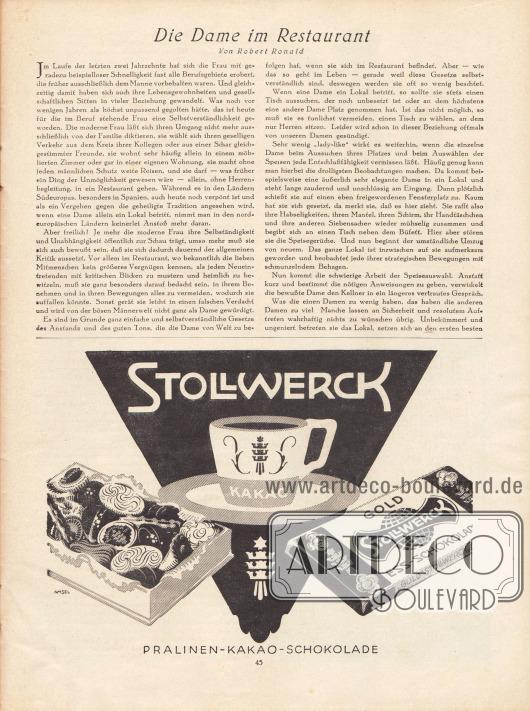 Artikel: Ronald, Robert, Die Dame im Restaurant. Werbung: Stollwerk, Pralinen, Kakao und Schokolade.