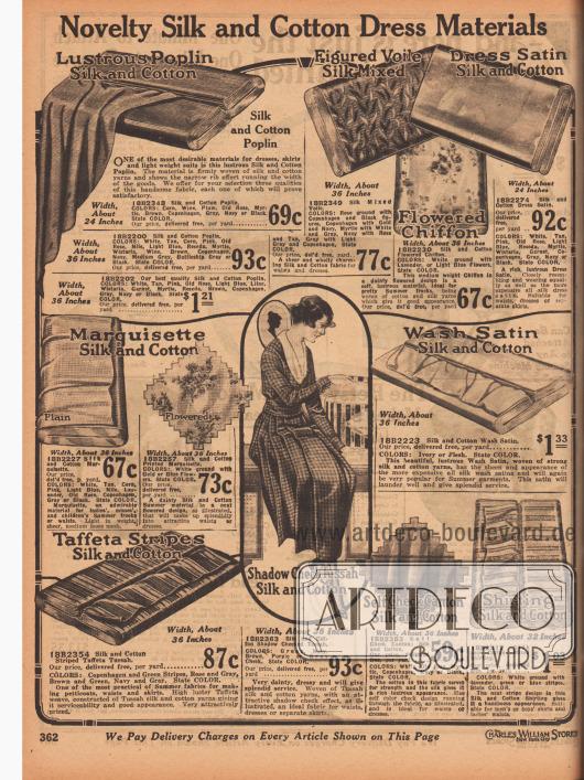 """""""Neuartige Seiden-Baumwollstoffe für Kleider"""" (engl. """"Novelty Silk and Cotton Dress Materials""""). Schwach geripptes, matt glänzendes Seiden-Baumwoll-Popeline, gemusterter Voile (Schleierstoff), geblümter Chiffon, einfarbiger Seiden-Baumwoll-Satin, Seiden-Baumwoll-Marquisette, schattiert karierte Baumwoll-Tussah-Seide, Waschsatin (Baumwoll-Seiden-Gewebe), gestreifter Baumwoll-Seiden-Taft, großkarierte Baumwoll-Kanton-Seide und gestreifter Seiden-Baumwoll-Hemdstoff. Die Preise beziehen sich auf einen Yard (91,44 cm) und sind zwischen 24 und 36 Inch breit (66,0 und 91,44 cm)."""