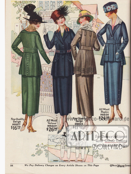 Vier Kostüme aus diagonal gestreiftem Baumwoll-Woll-Serge, Woll-Velours und Woll-Popeline für Frauen. Knopfreihen, Biesen, Nähte und farblich abstechende Kragengarnituren dienen als Zierelemente. Die zweite Kostümjacke zeigt zwei Brust- und zwei Schoßtaschen. Das dritte Kostüm zeigt eine Jacke mit plissiertem Schoß. Seidentressen und simulierte blinde Knopflöcher sind am Schoß der vierten Kostümjacke zu finden.