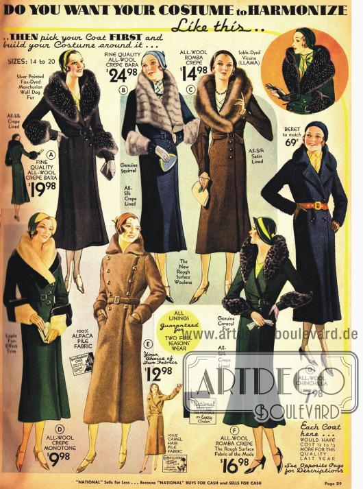 Neu in der Modesaison 1931-32 ist die besonders effektvolle Akzentuierung der Ellenbogen an Mänteln.
