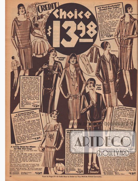 Frauenkleider zum Einheitspreis von 13,98 Dollar. Die verwendeten Stoffe sind Seiden Krepp, Seiden-Georgette, Seiden-Satin Krepp und Woll-Kaschmir. Ein Kleid besitzt einen pelzbesetzten Kragen (oben rechts). Das Angebot beinhaltet auch ein Kleid für Mädchen, eines für die stärker gebaute Dame und ein Ensemble.