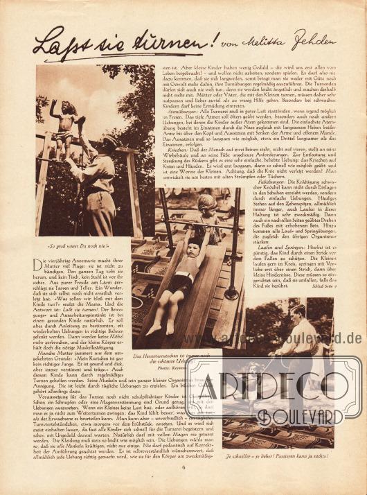 Artikel:Zehden, Melitta, Laßt sie turnen!Fotos: Keystone.