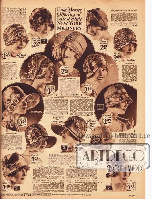 """14 sommerliche Damenhüte aus Bengaline Stroh, Faille Taft, Hanfgeflecht, matt glänzendem """"Visca"""" Stroh, """"Pedaline"""" Strohgeflecht sowie halbtransparentem Pyroxalin Gewebe (Kunstfaser ähnlich Kunstseide). Verschiedenartig arrangierte Ripsbänder, Kunstblüten und Kunstblumen, strassbesetzte Hutnadeln und unterschiedlich aufwendige Stickereien dienen als hübsche Garnierung der Modelle. Die Formen der Hüte reichen von krempenlos, helmartigen Formen, über Schutenformen bis hin zu breitkrempigen und femininen Sommerhüten."""