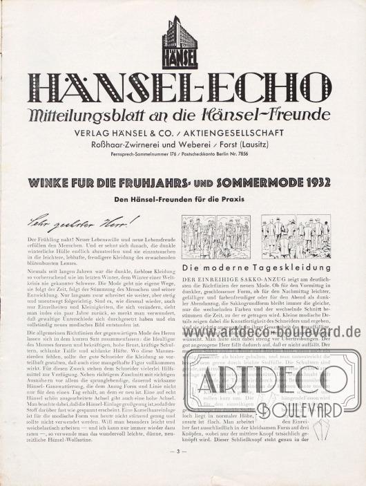 Artikel: Henschke, Bruno (Geschäftsführer), Winke für die Frühjahrs- und Sommermode 1932. Den Hänsel-Freunden für ihre Praxis.