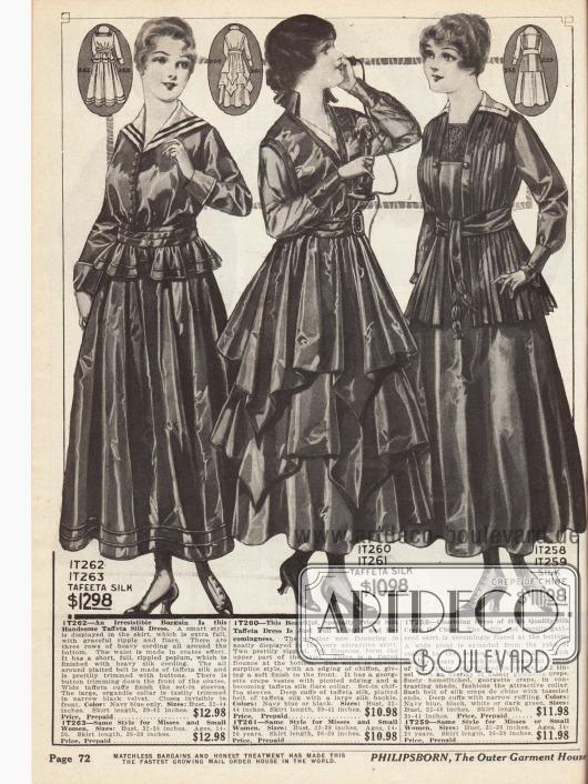Elegante Damenkleider aus Taft Seide und Seiden Crêpe de Chine. Das erste Kleid zeichnet sich durch einen kleinen Volantschoß aus, das sich um die ganze Taille legt. Die Weite des zweiten Rocks wird vor allem durch die zwei spitz zulaufenden Volants und den großzügigen Faltenwurf noch verstärkt. Ausgehend vom Kragen des dritten Kleides wurde der Stoff bis zum Schoß plissiert.