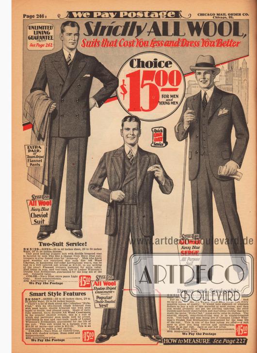 Anzüge für Männer und junge Männer für je 15 Dollar aus marineblauem Woll-Cheviot, hell-dunkel gestreiftem Woll-Kaschmir und marineblauem Woll-Serge. Ein zweireihiges Modell. Auffällig ist das mittlere Modell, das mit einer doppelreihigen Weste getragen wird, welche zudem Revers besitzt und unten glatt geschnitten ist. Alle Sakkos besitzen Brusttaschen für das Stecktuch.
