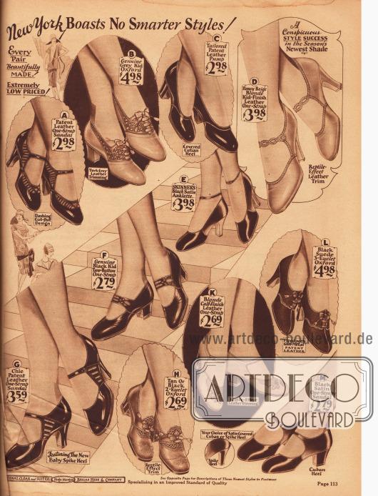 """Damenschuhe. Spangen-, Schnallen- und Riemchenschuhe, Pumps, Oxfords und Sandalenschuhe aus Lackleder, Chevreauleder (Ziegenleder), Rindsleder, Wildleder und Satin. Gerne werden die Schuhe mit dunklerem oder hellerem Leder oder reptilienartig genarbten Ledersorten kombiniert. Recht selten sind Ende der Zwanziger Jahre Pumps mit Knöchelriemen (E).Die Schuhkappen sind abgerundet und die typische Absatzform ist 1928 entweder mittelhoch und recht dick (Kubanische Absätze) oder neuerdings hoch und schlank (engl. """"spike heels"""")."""