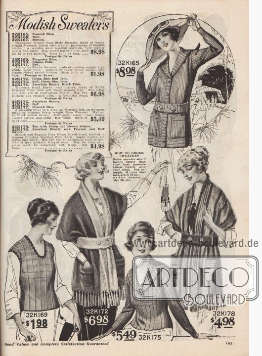 """""""Modische Pullover"""" (engl. """"Modish Sweaters""""). Strickwaren für junge Frauen und Damen zu Preisen von 1,98 bis 8,98 Dollar. Unter den Strickmodellen sind eine Strickjacke mit gestricktem Gürtel und aufgesetzten Taschen, ein knapper, westenartiger Pullover ohne Ärmel und Kragen, ein Strickpullover mit Matrosenkragen sowie zwei breite Schalumhänge mit Taschen und langen Quasten-Fransen. Die Kleidungsstücke sind aus schweren Kammgarnen, mittelschweren Wollgarnen, Angorawolle oder fluffig leichter Kammwolle."""