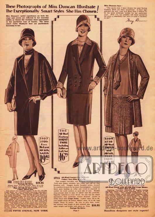 Mit dem Gesicht des Fox Filmstars Mary Duncan (1895-1993) werden auf dieser Seite ein exklusiver Mantel, ein Kostüm und ein Ensemble beworben. Das Gesicht der Schauspielerin ist hierfür in die Modelle montiert worden. Oben rechts befindet sich ein Testimonial der Schauspielerin. Der mondäne Mantel rechts aus Seiden-Satin präsentiert ein ausladenendes, aber einseitiges Cape mit Stickerei. Es folgt ein zweiteiliges Kostüm bestehend aus doppelreihiger Jacke und Rock aus Woll-Kord. Spitze findet sich an Kragen und Ärmelaufschlägen. Zudem ist die Jacke mit Tressen verziert. Rechts befindet sich ein Ensemble bestehend aus Mantel, Rock und Bluse. Mantel und Rock sind aus Woll-Tweed, während die Bluse aus Seiden Krepp hergestellt ist.