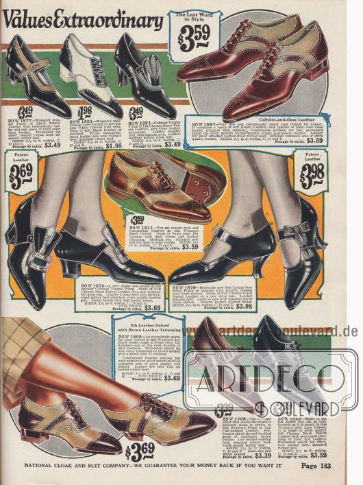 Oxfords für den Sport mit niedrigen Absätzen sowie Pumps und Schnallenschuhe aus Kalbs- und Lackleder mit mittelhohen und hohen Absätzen.