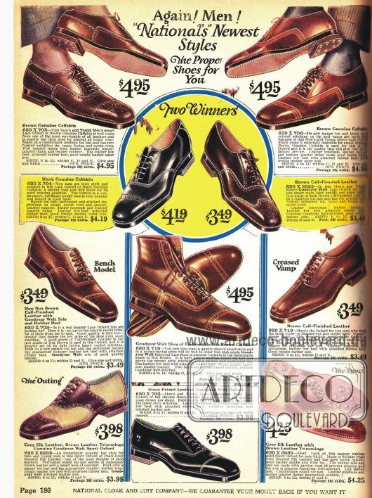 Elegante Herrenstraßenschuhe und Twotone-Schuhe für sportliche Aktivitäten.