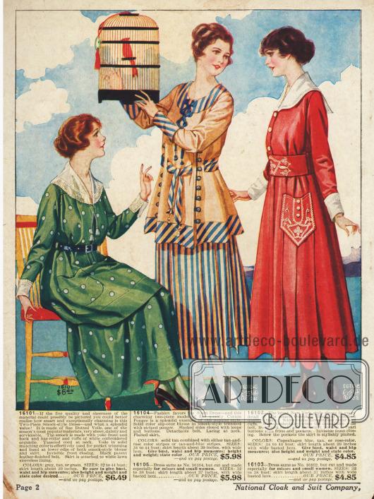 Kleider aus Voile, Baumwoll-Seide und Leinen. Die Kleider in grün und rot weisen abstechend weiße Garnituren und große Taschen auf.