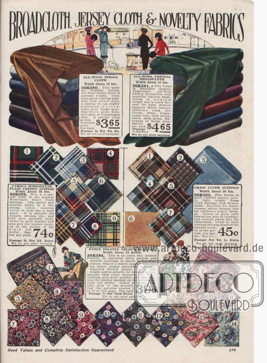 """""""Breitgewebe, Jersey-Stoffe und neuartige Stoffe"""" (engl. """"Broadcloth, Jersey Cloth & Novelty Fabrics""""). Woll-Jersey Gewebe, Woll-Chiffon-Breitgewebe, großkarierter Baumwoll-Anzugstoff sowie fantasievoll gemusterter und bedruckter feiner Flanell (engl. """"Polonia Velour Flannel"""") für Straßenkostüme, Herbstkleider oder Hauskleider. Die Breite der angebotenen Stoffe liegt zwischen 27 und 54 Inch (also 68,58 und 137,16 cm), während die Preise pro Yard (91,44 cm) Länge gerechnet werden. Die Preise rangieren zwischen 39 Cent und 4,65 Dollar."""