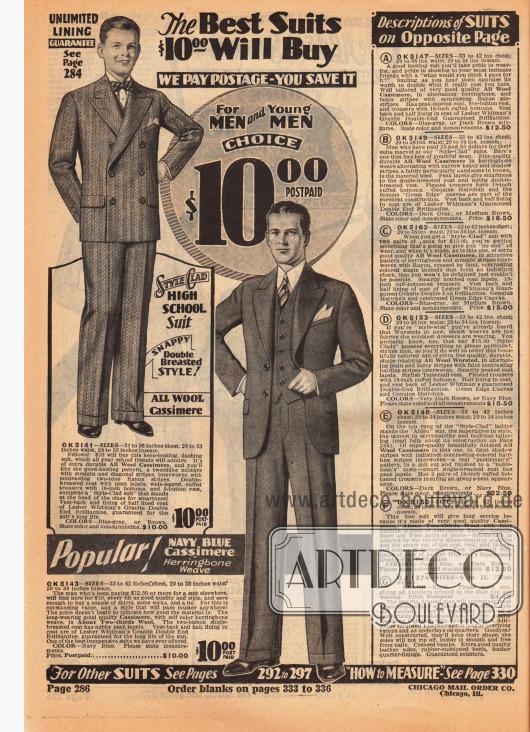 Ein einreihiger Anzug für Männer und ein zweireihiger Anzug für junge Männer im High School Alter für jeweils 10 Dollar. Beide Anzüge sind aus Woll-Kaschmir gefertigt. Rechts befinden sich die Erläuterungen der Herrenanzüge auf der folgenden Seite 287.