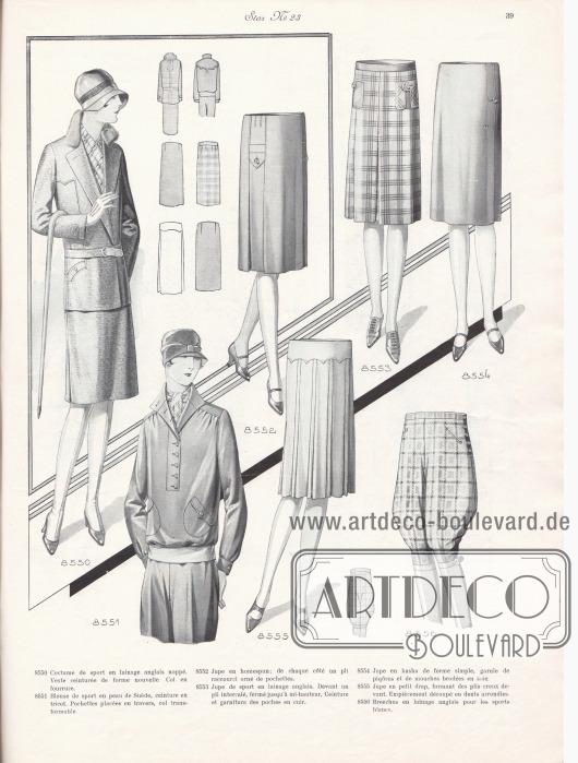 8550: Costume de sport en lainage anglais noppé. Veste ceinturée de forme nouvelle. Col en fourrure. 8551: Blouse de sport en peau de Suède, ceinture en tricot. Pochettes placées en travers, col transformable. 8552: Jupe en homespun; de chaque côté un pli raccourci orné de pochettes. 8553: Jupe de sport en lainage anglais. Devant un pli intercalé, fermé jusqu'à mi-hauteur. Ceinture et garniture des poches en cuir. 8554: Jupe en kasha de forme simple, garnie de piqûres et de mouches brodées en soie. 8555: Jupe en petit drap, formant des plis creux devant. Empiècement découpé en dents arrondies. 8556: Breeches en lainage anglais pour le sports blancs.