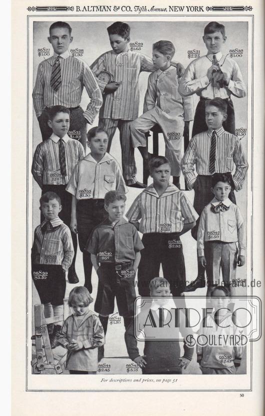 B. ALTMAN & CO., Fifth Avenue, NEW YORK.  AUSSTATTUNGEN FÜR JUNGEN.  88S27: Four-in-Hand Seiden-Krawatte; in attraktiven farbigen Streifen… 1,00 $. 88S28: Hemd, Nackenband-Stil, aus feinem, hochwertigem Baumwoll-Hemdstoff; in einer Vielzahl von attraktiven farbigen Streifen; Größen 12 bis 14 Nackenband… 1,95 $. 88S29: Zweiteiliger Schlafanzug aus Perkal, in einer Vielzahl von farbigen Streifen; Größen 4, 6, 8, 10, 12, 14, 16 und 18 Jahre… 1,65 $. 88S30: Schlafanzug aus feinem weißen Baumwollstoff, einteilig; auch Hellbraun (88S30A), oder Blau (88S30B); 6, 8, 10, 12, 14 und 16 Jahre… 1,50 $. 88S31: Sporthemd aus weißem Oxford, mit angesetztem Kragen im Polo-Stil; Größen 12 bis 14 Nackenband… 2,25 $. 88S32: Four-in-Hand Seiden-Krawatte; in attraktiven Streifen… 1,00 $. 88S33: Bluse aus einer ungewöhnlich feinen Baumwoll-Hemdstoff Qualität; in attraktiven Streifen; im Nackenband-Stil; Größen 8 bis 14 Jahre… 1,50 $. 88S34: Four-in-Hand Seiden-Krawatte; attraktive Muster… 0,75 $. 88S35: Sporthemd aus weißem Oxford; Größen 7 bis 14 Jahre… 1,50 $. 88S36: Sporthemd aus feinem Perkal; in einer Vielzahl von attraktiven Streifen; Größen 7 bis 14 Jahre… 1,25 $. 88S37: Hemd aus einer ungewöhnlich feinen Baumwoll-Hemdstoff Qualität, in farbigen Streifen; mit angesetztem Kragen im Polo-Stil; in den Größen 8 bis 14 Jahre… 1,50 $. 88S38: Bluse aus Madras, mit angenähtem Eton-Kragen; in verschiedenen farbigen Streifen; in den Größen 4 bis 10 Jahre… 1,25 $. 88S39: Kniebundhose aus marineblauem Serge, durchgehend gefüttert; Größen 4 bis 10 Jahre… 3,50 $. 88S40: Sportbluse aus khakifarbener Baumwolle, ein starkes, farbechtes Material; Größen 7 bis 14 Jahre… 0,95 $. 88S41: Knickerbocker aus kräftigem Baumwoll-Khaki-Twill; waschbar; gut verarbeitet; sorgfältig verstärkt; Größen 8 bis 17 Jahre… 1,50 $. 88S42: Bluse aus weißem Oxford, mit angesetztem Eton-Kragen; Größen 4 bis 10 Jahre… 1,50 $. 88S43: Kniebundhose aus khakifarbener oder weißer Baumwolle, gute Qualität, farbecht; Größen 4 bis