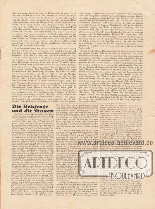 """Artikel:Elias, Julie, Heim und Geselligkeit.Werbung:""""Die Heizfrage und die Frauen"""", Ideal Culina-Zentralheizungs-Küchenherde und Narag-Classic-Heizung, Nationale Radiator Gesellschaft m. b. H. in Schönebeck/Elbe."""