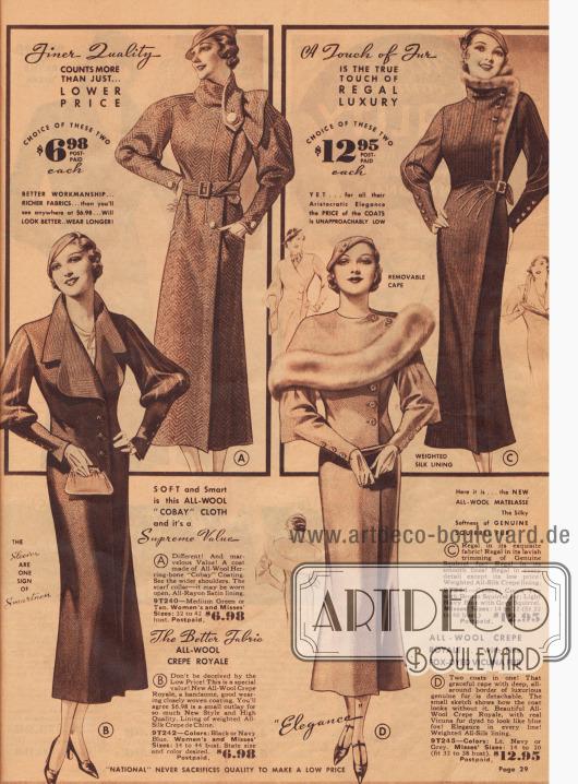 Aktuelle Damenmäntel für 6,98 bis 12,95 $.