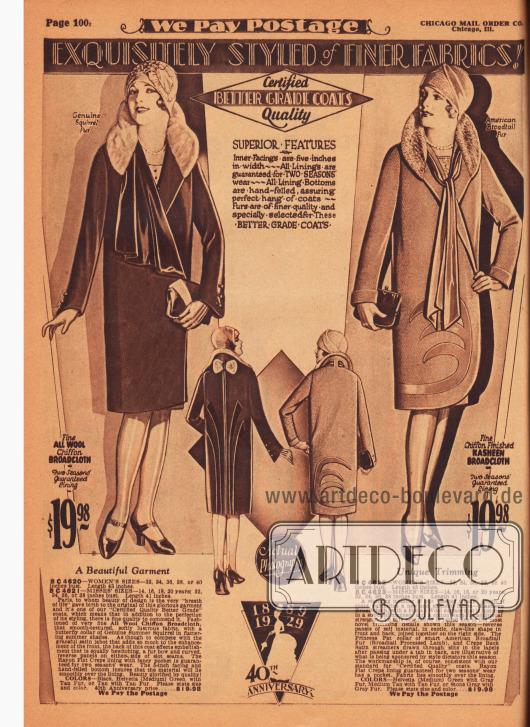"""""""Vorzüglich geschneidert aus feineren Stoffen!"""" (engl. """"Exquisitely Styled of Finer Fabrics!""""). Echte Fotografien. Zwei exklusive Frühjahrsmäntel aus Woll-Chiffon-Breitgewebe und Chiffon-Kasha-Breitgewebe für Damen. Der Kragen des linken Modells wurde mit Eichhörnchenfell, der des rechten Modells mit amerikanischem Breitschwanzfell (Persianer-Lammfell, vom Karakulschaf) verbrämt. Der linke Damenmantel präsentiert einen geschweiften Schmetterlingskragen (engl. """"butterfly collar"""") sowie einen jabotartig erweiterten Samtkragen. Im Nacken befindet sich eine Pelzschleife sowie sich farblich leicht absetzende Paneele im Rücken. Auch der zweite Mantel zeigt aufgearbeitete Paneele aus der Rückseite des Mantelmaterials, die klauenartig von der Vorderseite auf die Rückseite reichen. Lange Bänder aus Krepp-Satin werden vorne lose gebunden."""
