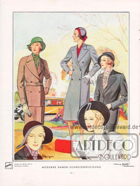 """""""Moderne Damenkleidung"""". Seite mit Kostümen für Damen und einem Damenmantel. Die Jacketts können ein- oder zweireihig sein, wobei die einreihige Form am ehesten dem modernen Herrensakko ähnelt und seine Form aufnimmt. Die zweireihige Form zeigt Raglanärmel und besitzt einen recht sportlichen Charakter. Der Mantel ist zweireihig mit tiefumrollenden Klappen. Er wird nur auf zwei Knöpfen geschlossen. Der dritte, oberste Knopf ist blind. Zeichnung/Illustration: Harald Schwerdtfeger (1888-1956)."""