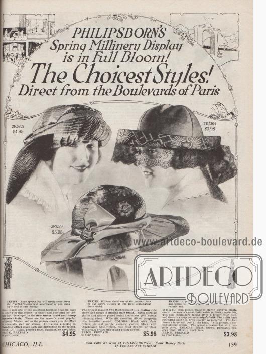 """Drei der neuesten Kreationen """"direkt von den Pariser Boulevards"""" eröffnen die Katalog-Sektion für Damenhüte. Die Hüte sind aus Glanzgarnen, """"hemp Batavia cloth"""" (Hanfgewebe) – """"dem bevorzugten Gewebe der Saison"""" – und Seidenspitze. Zur Garnierung dienen Reiherfedern, die wie eine Paradiesflanke angebracht sind (links), ein breites Ripsband (Mitte) oder detailreiche Stickereien an der Krempe (rechts)."""