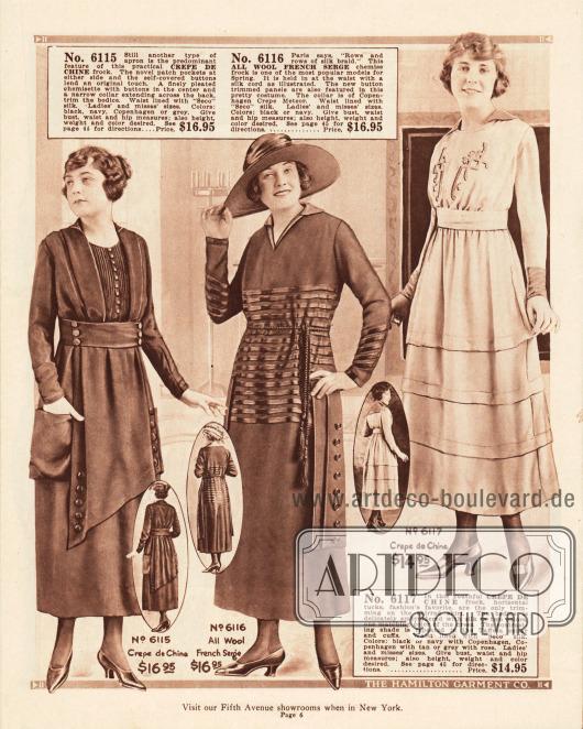 Elegante Kleider zum Preis von 14,95 bis 16,95 Dollar aus Crêpe de Chine und französischem Woll-Serge. Das erste Modell zeigt ein vorn überlappendes Schürzenteil und dekorative Knopfleisten. Das zweite Modell präsentiert ein seitliches Zierband mit Knopfleiste, horizontale Borten aus glänzender Seide und als Gürtel ein Seil aus Seide mit Quasten. Das letzte Kleid zeigt dagegen eine dezente Bruststickerei und am Rock Abnäher, die diesem das Aussehen eines Stufenrocks verleihen.