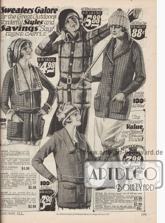 Strickpullover für Damen mit und ohne Gürteln für den Wintersport aus reiner Wolle und Angorawolle.