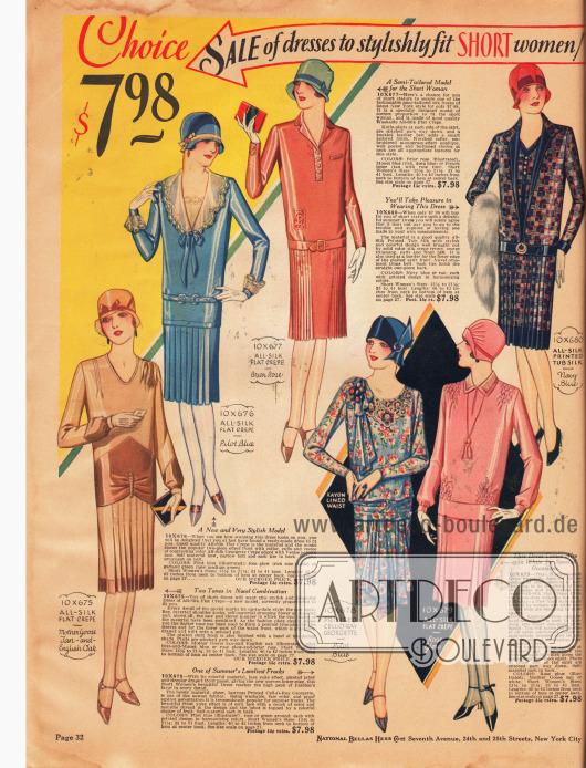 """Feine Tages- und Nachmittagskleider speziell für junge Damen und Frauen, die kleiner als 5 feet 3 inch (etwa 1,60 m) sind. Die Kleider für jeweils 7,98 Dollar sind aus Seiden Krepp und bedrucktem """"Cell-o-ray"""" Georgette. Plissierte Röcke, Kellerfalten, Westeneinsätze und auch Smokarbeiten (rosa Kleid rechts unten) sind an den einzelnen Modellen zu finden."""