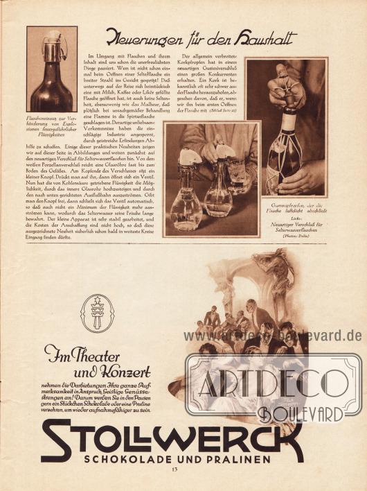 Artikel: O. V., Neuerungen für den Haushalt (mit drei Fotografien); Werbung: Stollwerck Schokolade und Pralinen. Zeichnung: Felix Schwormstädt (1870-1938).