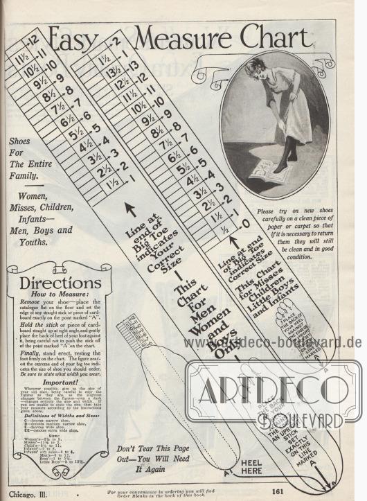 """""""Einfache Maßtabelle"""" (engl. """"Easy Measure Chart""""). Seite mit Anweisungen zum korrekten Maßnehmen der benötigten Schuhgröße für Damen, junge Frauen, Männer, Kinder und Kleinkinder. Die Ferse muss unten rechts angelegt werden."""