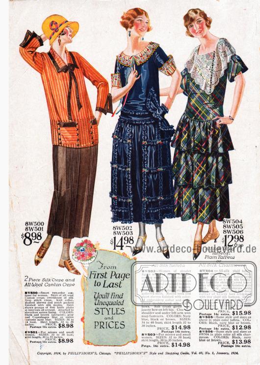 Ein Kleidensemble bestehend aus einer orangen Seidenbluse und einem Rock aus braunem Woll-Krepp in gerader Linie. Eine Stoffborte aus braunem Seiden-Popelin dient als Bordüre an Ärmeln, Taschen, Kragen und als lose Bandschleife.Es folgen zwei Stilkleider mit geraden Oberteilen und weiten ausladenden Röcken aus reinem blauem Seiden-Taft und wahlweise aus grünem Seiden-Taft oder Seiden-Charmeuse. Feine schmale Rüschen unterstreichen die Weite des blauen Kleides, dessen Ärmelaufschläge und Kragen mit hellem Garniturstoff verziert sind. Ein dreistufiger Volantrock erzeugt die Weite des letzten Modells. Der Stoff ist hier diagonal verarbeitet. Eine ausladende Spitzengarnitur ziert den kantigen Ausschnitt.