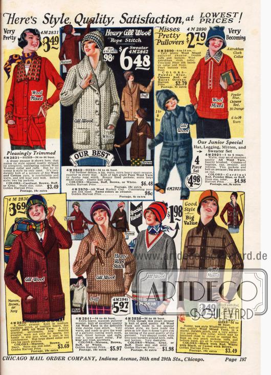 Strickpullover und Jacken für Damen. Ein Ganzkörperanzug mit Kappe für Kinder.