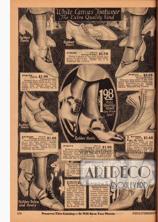 Doppelseite mit Damenschuhen aus sommerlich leichtem Canvas. Gezeigt werden hier kurze Stiefeletten, Oxfords, Pumps mit Schnallen und Sandaletten. Perforationen, Ziernähte und Lederbesatz verschönern die Schuhe. Die Schuhe zeigen flache Gummisohlen, niedrige Militärabsätze oder den beliebten geschwungenen Louis XIV Absatz.