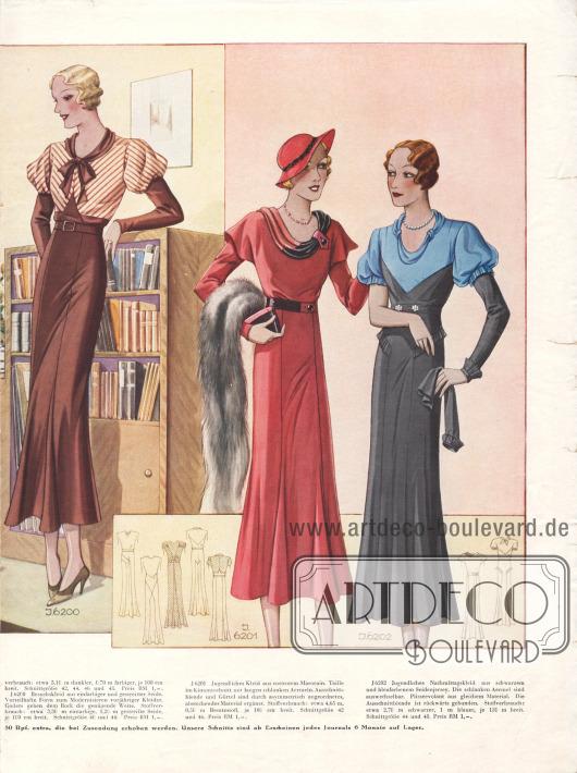 Doppelseide mit jugendlichen Besuchs- und Nachmittagskleidern mit glockigen Röcken, in welche teilweise Godets mit eingearbeitet wurden. Die Kleider sind aus Samt (Modell 1 und 2), Flamenga, Seidenjersey (Modelle 4 und 7), Seide und Marocain gearbeitet. Verarbeitungen abstechender Stoffe, Spitzengarnituren und gepuffte Ärmel oder mit Hilfe von Blenden verbreiterte Schultern (3. Modell) geben jedem Kleid die besondere Note.