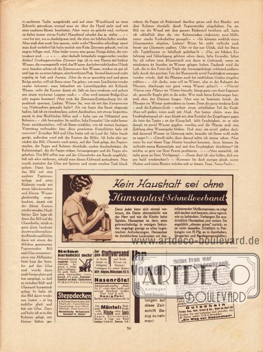 """Artikel: O. V., Liebe Freundin! Ich rate Ihnen... Werbung: Hansaplast Schnellverband; 672 send. """"Extension"""", Frankfurt am Main - Eschersheim; Oberfränkische Wollspinnerei, Kasendorf 71, Bayern; Stoffversand Alfr. Heyne, München 23/5; """"Pohli Nr. 2"""", Georg Pohl, Berlin S59/572, Gräfestraße 69/70; Samthaus Schmidt, Hannover 16 P.; Eigenwerbung des Verlages; O.H.E. Tabletten (gegen Lungenkrankheit), Firma Osc. Heh. Ernst & Co., Weil im Dorf 33."""