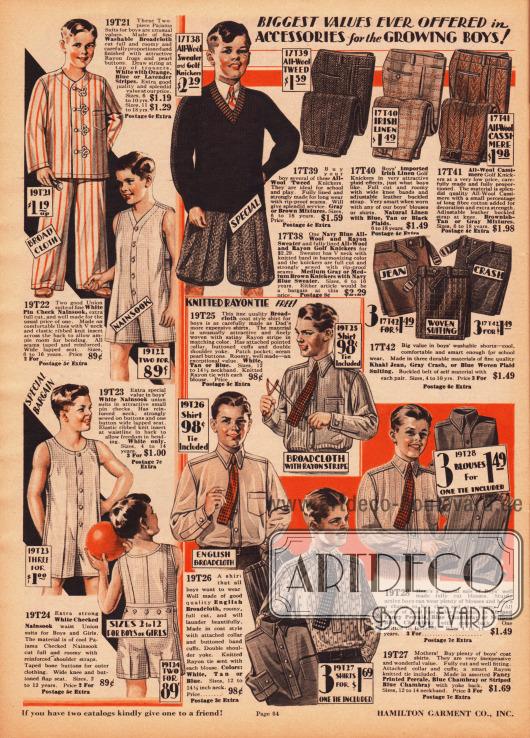 """Leichte Sommer- und Sportunterwäsche (einteilige Hemdhosen, engl. """"union suits""""), kurze Hosen, feine Hemden, ein Pullover und ein Pyjama für Jungen von 4 bis maximal 16 Jahren. Der Pyjama oben links besteht aus waschbarem Breitgewebe, während die ärmellosen Hemdhosen mit kurzen Beinen aus Nainsook (leichtes Musselin, Baumwollstoff) gefertigt sind. Die Hosen und der Pullover bestehen aus Wollstoffen, Woll-Tweed, irischem Leinen oder Woll-Kaschmir. Englisches Breitgewebe, Perkal oder Chambray in gemusterten oder unifarbenen Varianten wurde für die Hemden verwendet."""