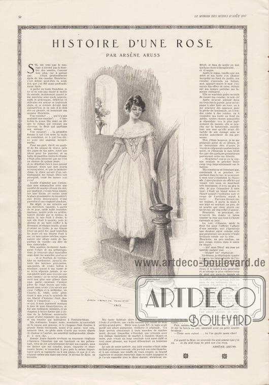 Artikel: Aruss, Arsène, Histoire d'une rose (par Arsène Aruss).  In der Mitte der Geschichte befindet sich eine Zeichnung mit einer Dame im Stilkleid, die eine Treppe hinunter schreitet. Illustration/Zeichnung: John Newton Howitt (1885-1958).