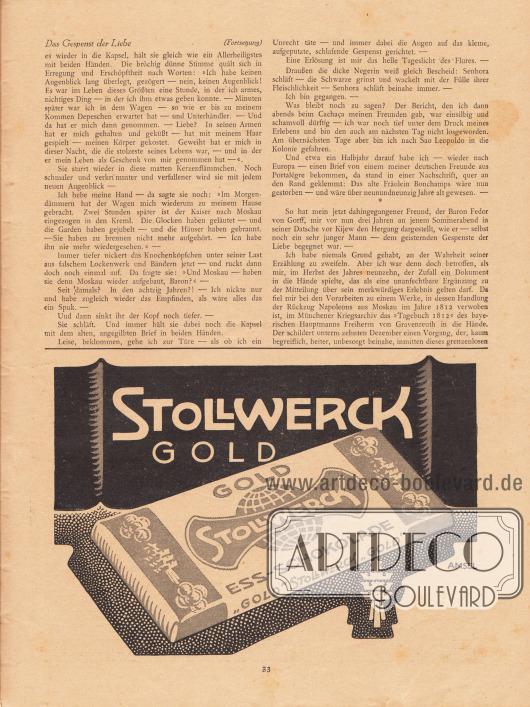 Artikel (Novelle): Rosner, Karl (1873-1951), Das Gespenst der Liebe. Werbung: Stollwerck Gold, Ess-Schokolade. Zeichnung/Illustration: Amsel.