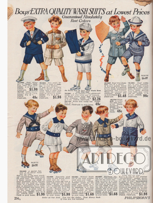 """Spielanzüge (engl.: """"rompers"""") für kleine Jungen zwischen zwei und acht Jahren vorwiegend im Marinestil aus Baumwollstoffen, Jeansstoff, Chambray und Leinen. Die kurzen Hosen werden zumeist unter den Knöpfen der Oberkleidung befestigt."""