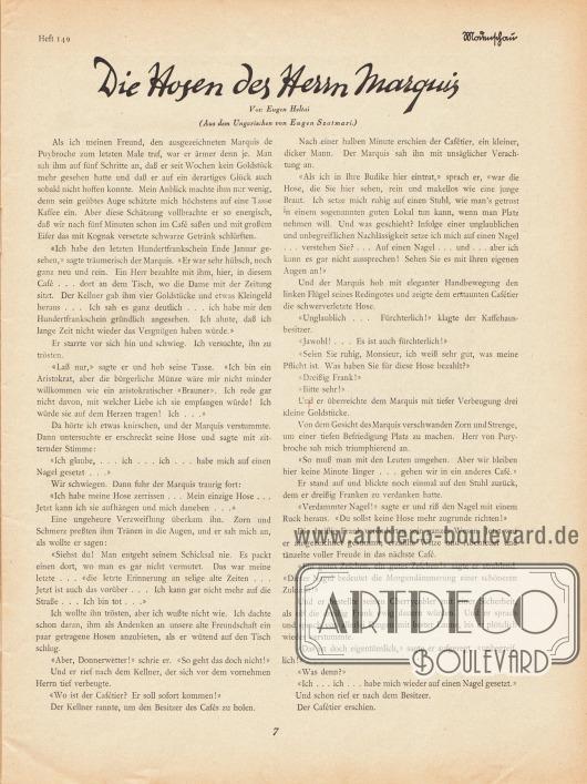 Artikel:Heltai, Eugen, Die Hosen des Herrn Marquis (aus dem Ungarischen von Eugen Szatmari).