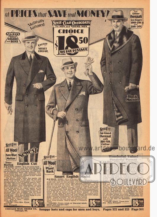 Ein Paletot-Mantel aus Wollstoff mit schwarzem Samtkragen, ein Ulster-Mantel ebenfalls aus Wollstoff und ein schwerer Wintermantel aus Wollmischgewebe mit Kaninchenkragen und gefüttert mit Opossumfell. Alle drei Mäntel kosten 18,50 Dollar und sind doppelreihig ausgeführt. Während der Wintermantel rechts geradezu formlos geschnitten ist, zeigen die beiden anderen Mäntel eine leichte Taillierung, die durch die Abnäher in der Taille erzielt wird.