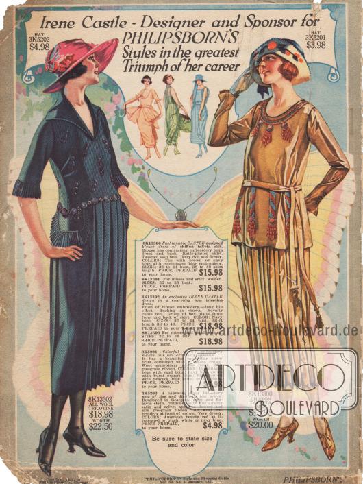 """Zwei Modelle der Frühjahrsmode 1921, die exklusiv von Irene Castle (1893-1969) für Philipsborn's entworfen wurde. Links ein Kleid aus marineblauem """"Tricotine"""" (robust gewebtes Wollgewebe) mit Stickereien, Hüft- und Ärmelrüschen, Kettengürtel und teilweise plissiertem Rock. Rechts ein dunkelgelbes Blusenkleid aus einem Chiffon-Taft und Seidengemisch mit kontrastierenden Stickereien, plissiertem Rock und einem langen Gürtel, der in Quasten endet."""