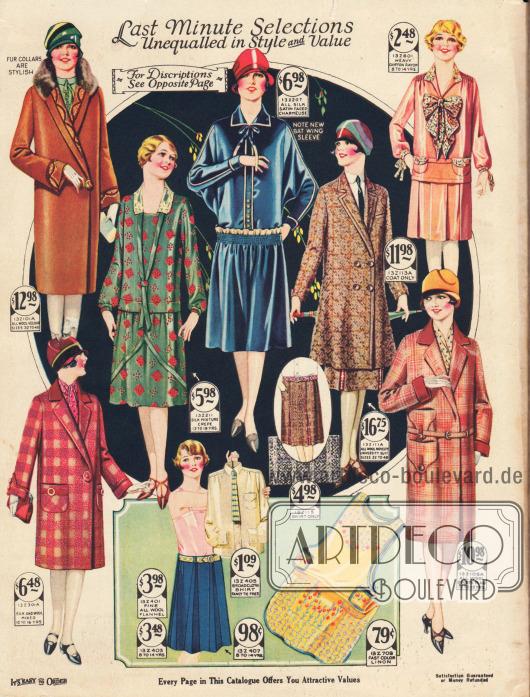 """""""Last Minute Modelle unerreicht in Stil und Wert"""" (engl. """"Last Minute Selections Unequalled in Style and Value"""").Mäntel und Kleider für zierliche Damen, junge Frauen und Mädchen. Oben links ein Woll-Veloursmantel mit Kaninchenkragen, daneben ein grünes Kleid mit roten Quadraten aus Seiden-Krepp-Mischgewebe, ein blaues Kleid aus Charmeuse mit Seiden-Satin Oberfläche, ein zweireihiger Mantel mit passendem Rock aus Tweed sowie ein Mädchenkleid aus rosa Chiffon-Rayon mit großer Schleife.Unten befinden sich ein Mantel für Mädchen aus Seiden-Woll-Mischgewebe, ein Sportensemble mit Rock aus blauem Woll-Flanell und Hemd aus Breitgewebe mit Krawatte, eine gelbe, bunt bedruckte Hausarbeitsschürze aus Baumwoll-Leinen und ein sportlicher, rosé karierter Mantel mit aufgesetzten Taschen."""