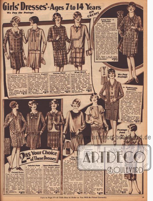 """""""Mädchenkleider – Für 7 bis 14-jährige – Auf Kredit"""" (engl. """"Girls' Dresses' – Ages 7 to 14 Years – On Credit""""). Unter den schicken Kleidern für junge Mädchen befinden sich auch drei Ensembles, ein Kleid mit Bolero-Effekt und ein Bademantel aus bunt bedrucktem Baumwollgewebe für Mädchen. Die Ensembles wurden aus Woll-Tweed und buntem Krepp, Woll-Flanell sowie englischem Breitgewebe hergestellt. Für die Kleider wurden grob karierte Baumwolle, englisches Breitgewebe, Woll-Mischgewebe oder Woll-Georgette Krepp verwendet. Stickereien und Schleifen werten die Modelle auf."""