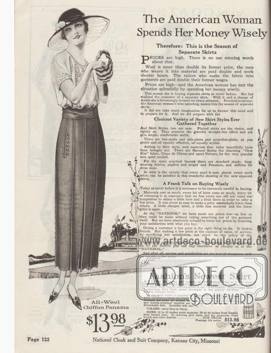 """""""Die amerikanische Frau gibt ihr Geld weise aus – Deshalb: Dies ist die Jahreszeit der separat [zu kaufenden] Röcke"""" (engl. """"The American Woman Spends Her Money Wisely – Therefore: This is the Season of Separate Skirts""""). Beginn der Abteilung für Damenröcke mit einem Überblick über die neuesten Rock-Modelle und einem Hinweis auf das 1920 sehr hohe Preisniveau, das aus gestiegenen Rohstoffpreisen und hohen Löhnen resultiert.  4X1: Modischer Damenrock aus Woll-Chiffon-Panama in gerader Linie. Der Rock ist rundum in tiefe Kellerfalten gelegt und mit horizontalen Haarbiesen am Saum garniert. Eingelassene Schlitztaschen, die mit Knöpfen flankiert sind. Abnehmbarer Gürtel und unsichtbarer, seitlicher Verschluss."""