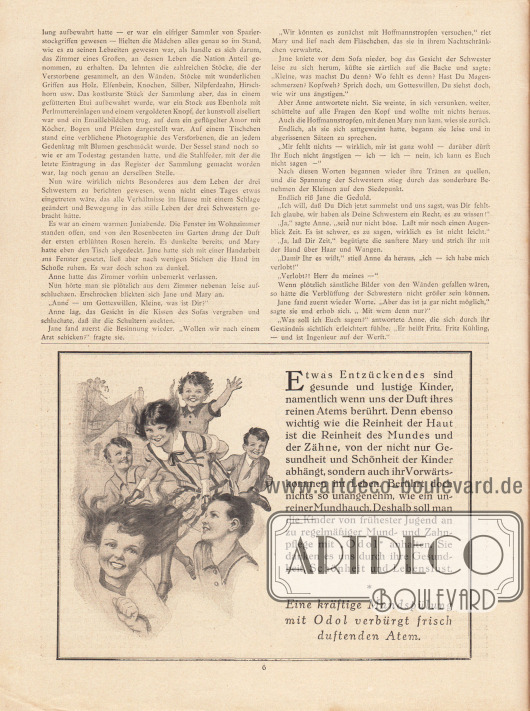 Artikel: Scharrelmann, Wilhelm (1875-1950), Die drei Schwestern. Werbung: Odol Mundspülung und Zahnpflege. Zeichnung: unsigniert/unbekannt.