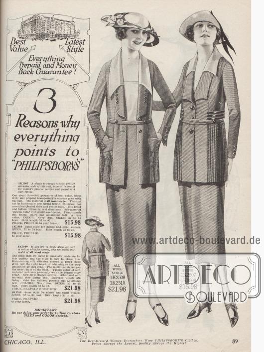 Doppelseite mit Kostümen für Frauen aus Woll-Serge. Der ziemlich ähnliche Schnitt wird durch differierende Details abgewandelt. Unterschiedlich geformte Kragen, Paspeln, mehr oder minder großzügige Stickereien, Zierknöpfe, Taschen oder ein plissierter Schoß geben jeder Jacke einen individuellen Charakter.