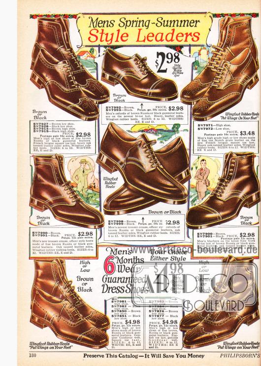 Robuste Halbschuhe (Oxfords und Blüchers) und Stiefeletten für Herren aus Russischleder, grobem genarbtem Leder und anderen Ledersorten mit Ledersohlen und Goodyear Gummiabsätzen.