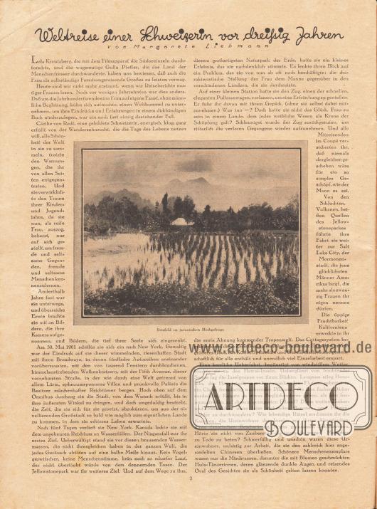 """Artikel:Liebmann, Margarete, Weltreise einer Schweizerin vor dreißig Jahren.Im Zentrum der Seite ist eine Fotografie mit der Bildunterschrift """"Reisfeld im javanischen Hochgebirge"""" abgebildet.Foto: Cäcilie von Rodt (1855-1929)."""