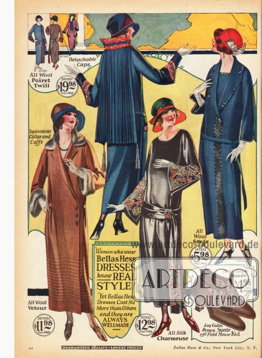 Kleider aus Woll-Velour, Seiden-Charmeuse und Woll-Serge. Die Pelzverbrämung des Mantelkleids (links unten) ist aus Eichhörnchenpelz.